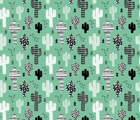 Trendy western geometric cactus garden with triangles and