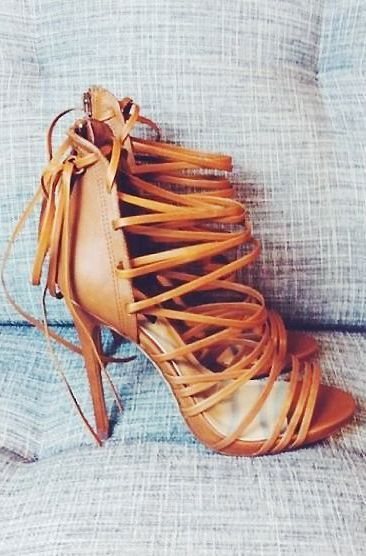 Cognac Strappy Heels