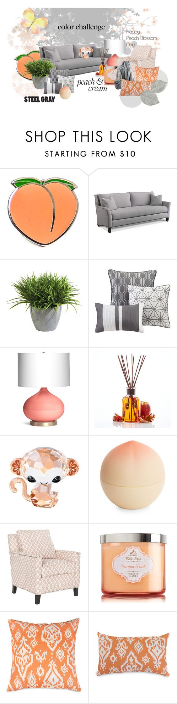 """""""Peach and Gray"""" by rach-leejo ❤ liked on Polyvore featuring interior, interiors, interior design, home, home decor, interior decorating, PINTRILL, Ethan Allen, Madison Park and Emporium Home"""