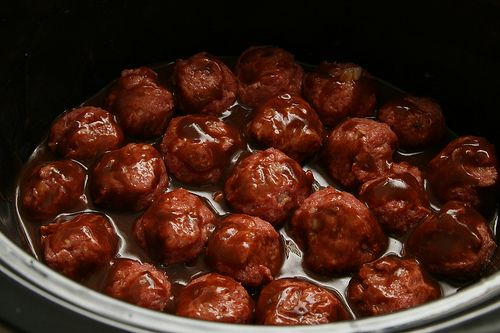Sweet N Tangy BBQ Meatballs in the crockpot