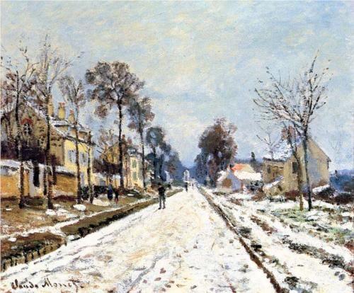Claude Monet - La route de Versailles à Louveciennes, effet de neige