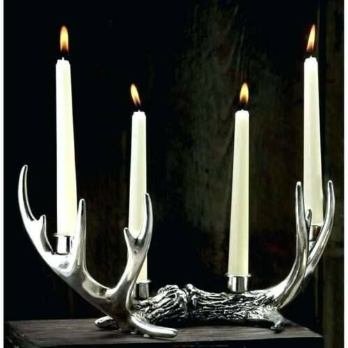 Rustic Silver Stag Deer Antlers 4 Taper Candle Holder Home Decoration Christmas Ebay Antler Candle Holder Antler Candle Taper Candle Holders