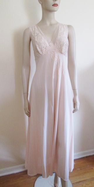 Vanity Fair Pink Lace Negligee Vintage 1960s Maxi Length Bust 38  $25  https://www.rubylane.com/item/676693-CLO16-42/Vanity-Fair-Pink-Lace-Negligee-Vintage