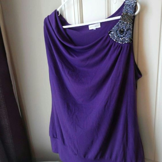 Purple Formal Top Perfect for under a Blazer  All beads in tact  Never worn Fashion Bug Tops Blouses