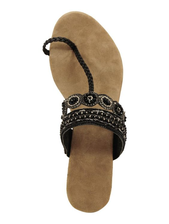 Buy Black  Brown Floral Beaded Kolhapuri Chappals Genuine Leather Rubber Sole Online at Jaypore.com
