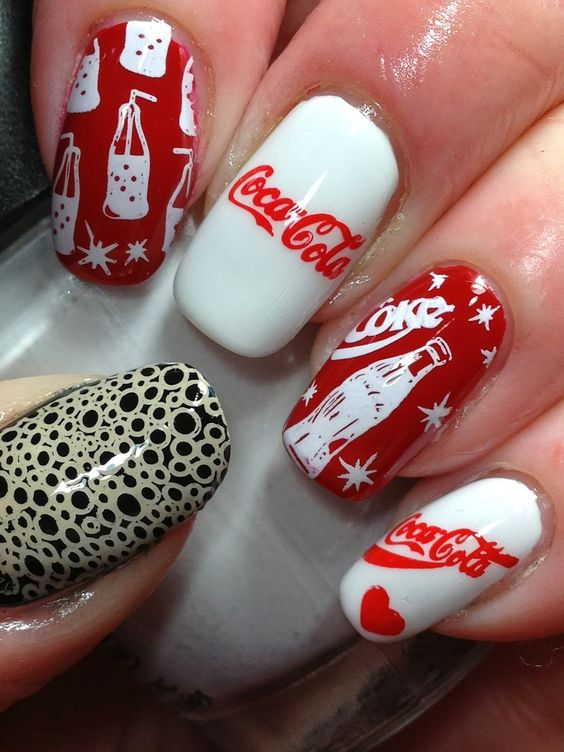 Coca Cola stamped nail designs: