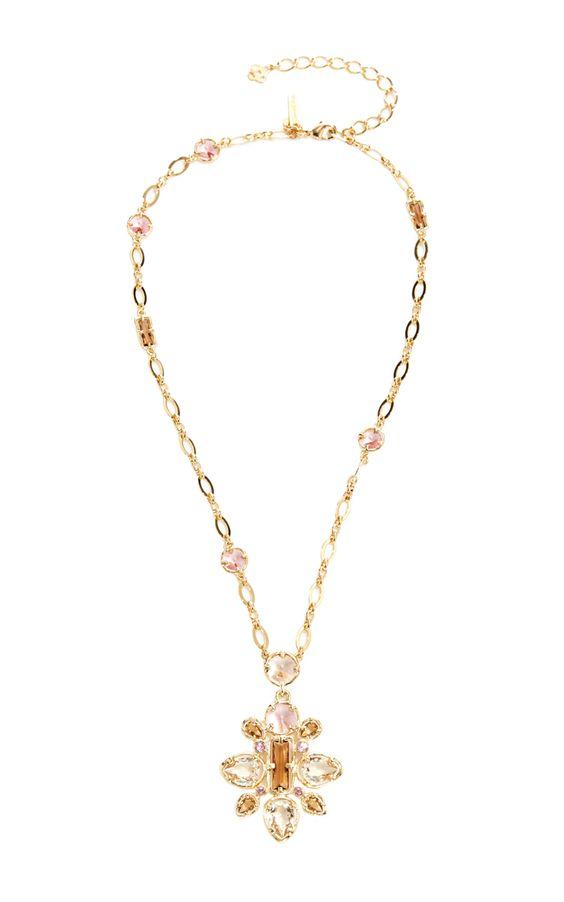 Framed Crystal Star Pendant Necklace by OSCAR DE LA RENTA Now Available on Moda Operandi