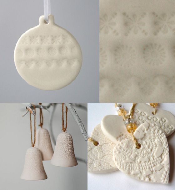 winter white ornaments and decorated patterns