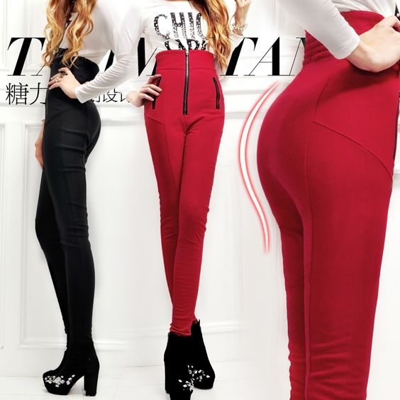High waist slim hip elastic candy color red skinny pants pencil pants