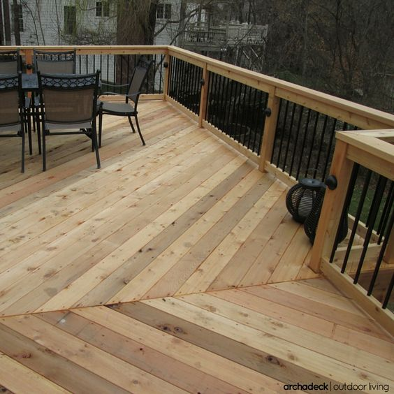 Want just a little variety in the design of your raised cedar deck?  Change-up the rail balusters by pairing wood with metal.  The end-result brings a contemporary and cost-effective twist to your design.  And for a little more spice, add deck lights and include a floor board pattern too.