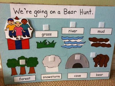 Bear Activities (flannel/velcro boards, positional words, bear counters for sorting, patterns, using with balance scale, etc.) and Stories (Bear Hunt; Brown Bear, Brown Bear; Goldilocks & the 3 Bears, etc)