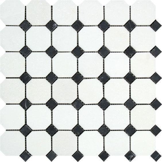 Thassos Weisser Marmor Geschliffene Octagon Mosaikfliese Mit Schwarzen Punkten Mosaikfliesen Weisser Marmor Und Marmor Schleifen