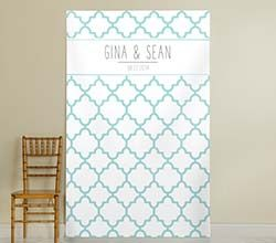 Personalized Aqua Quatrafoil Photo Backdrop ~ 40069NA