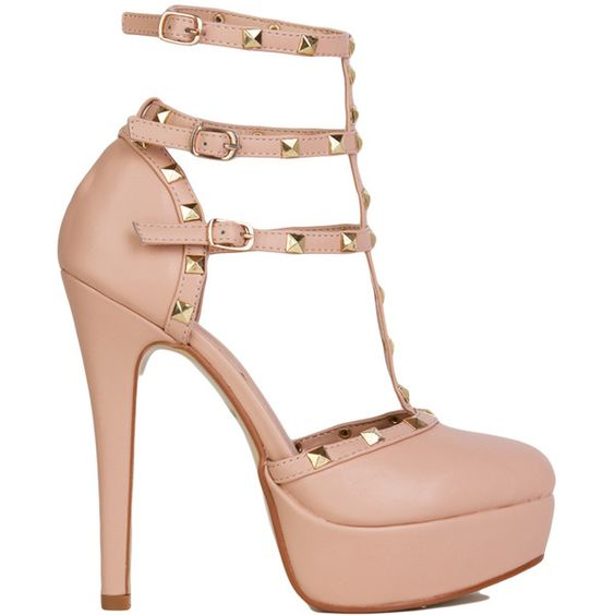 T-Strap Studded Platform Closed Toe Nude Sandals ($20) ❤ liked on ...