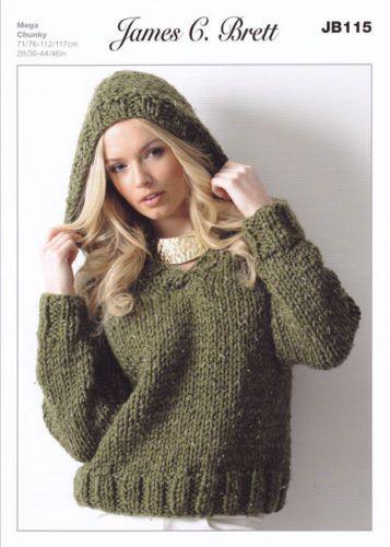 Ladies Chunky V Neck Jumper Hooded Sweater Knitting Pattern James Brett JB115...
