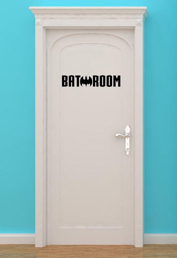 Bat Room, Batman, Bath Making H, Women, Bathroom, Restrooms, Sign, Superhero, Vinyl, Sticker, Wall Art, home, bedroom, nursery, kid's decor