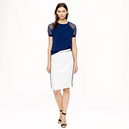 Like the extra detail on this pencil skirt (the trim).Pencil skirt in herringbone linen