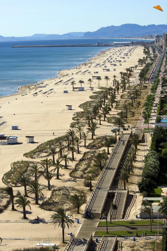 Vista aérea de la playa Nord en Gandía, Comunidad Valenciana  Spain:
