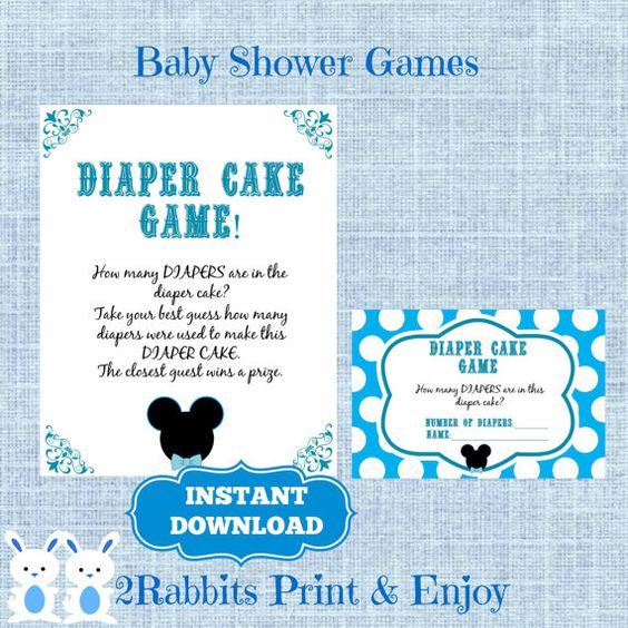 games cards baby showers mickey mouse game diaper cakes baby shower