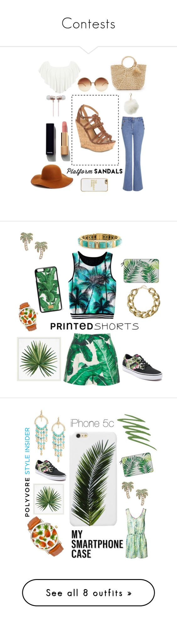 """""""Contests"""" by fashionismyybae ❤ liked on Polyvore featuring Phase 3, Delicious, WearAll, Laura Ashley, Hat Attack, Linda Farrow, Chanel, BaubleBar, Cynthia Rowley and Charlotte Russe"""