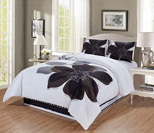 4 Piece Grey White Black Hibiscus Floral Comforter Set California Cal King Size Bedding Best Quilted Floral Comforter Sets Comforter Sets Floral Comforter