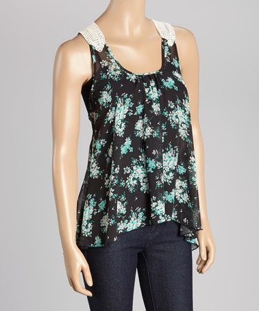 ... Occasion Style Green & Black Floral Crochet-Racerback Tank | Pinterest