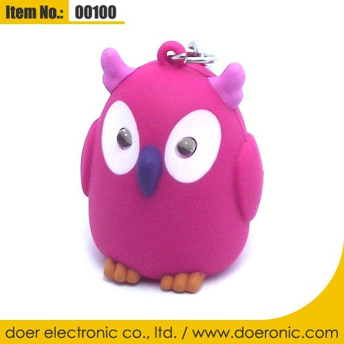 Owl Animals Voice Keychain LED Torch Light ABS | Doer Electronic the Animals Novelty Gadgets Supplier from China, Welcome to the World of Animals Fun.