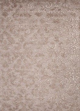 Hand-Tufted Arts and Craft Pattern Wool/ Art Silk Taupe/Tan Area Rug transitional-rugs