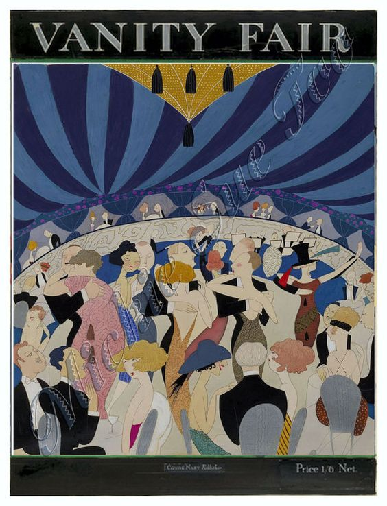 """1921 VANITY FAIR MAGAZINE  Dancing Couples # 2, Instant Download, Cover Art by A. H. Fish, """"Art Deco"""" Print, High Resolution Image (300 dpi)"""