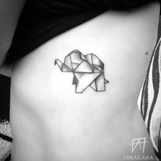 ... tattoo yoga... Origami Elephant Tattoo