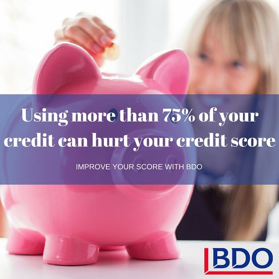 using more than 75% of your available credit can hurt your credit rating