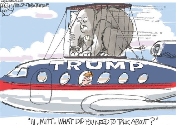Image result for cartoon trump makes up with romney