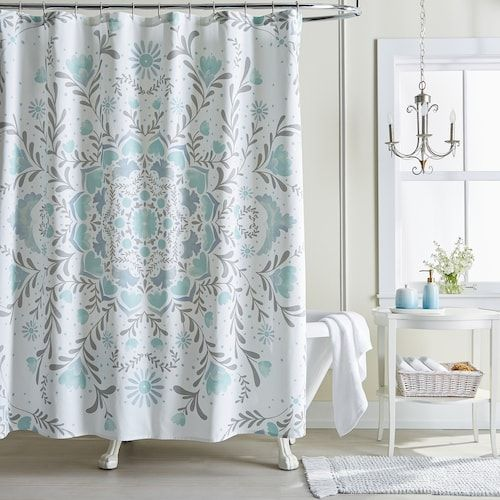 Lc Lauren Conrad Carina Medallion Shower Curtain Medallion Shower Curtain Gray Shower Curtains Blue Shower Curtains