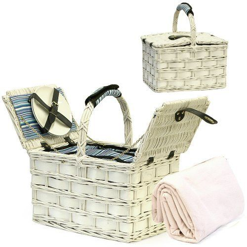 Picnic Hamper Basket & Cream Fleece Blanket with Accessories, Wedding ...