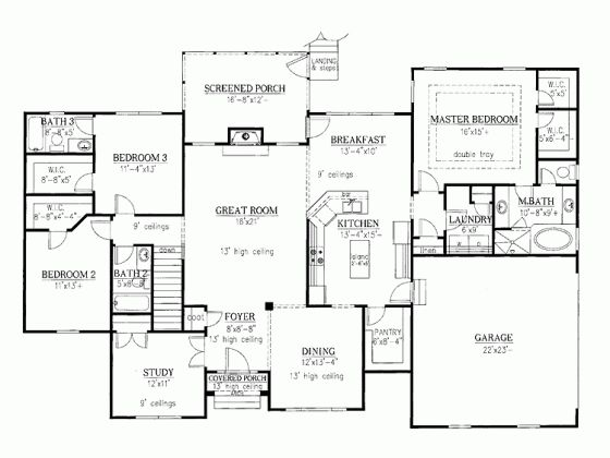 Dhsw63914 large pantry large master bedroom closet house for Classic ranch home plans
