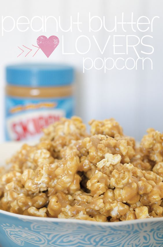"PB lovers popcorn... Blogger says ""This popcorn tastes like HEAVEN. It's so easy and takes like 5 minutes to make!"""
