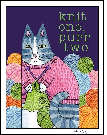 Knitting Cat Art Print for Knitters 8 x 10 by SusanFayePetProjects