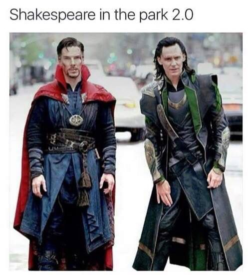 Shakespeare in the Park 2.0. Dr Strange and Loki - Visit now to grab yourself a super hero shirt today at 40% off!