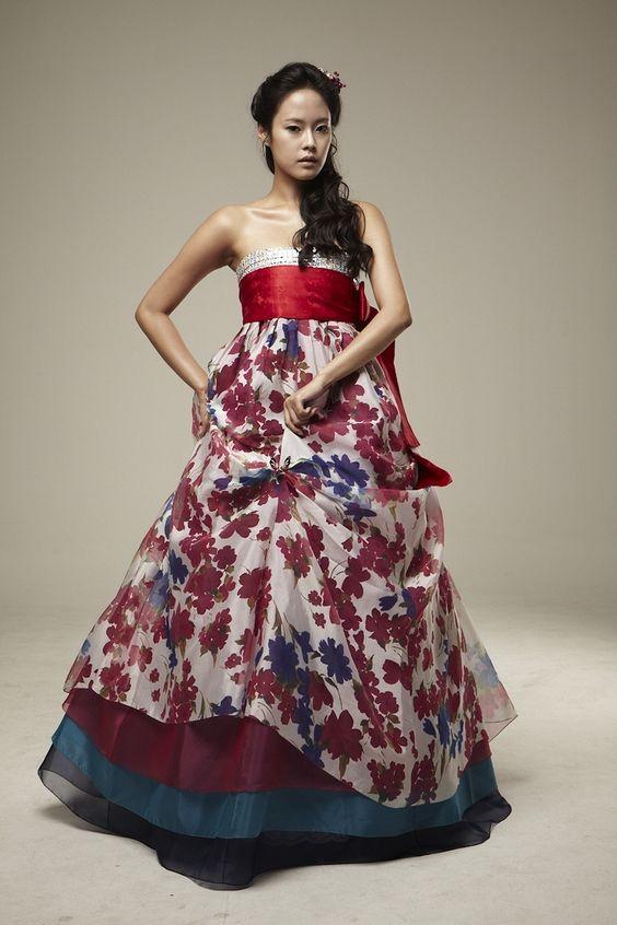 Red flower modern hanbok