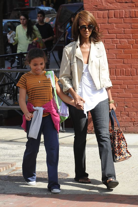 Iman and daughter in Greenwich Village - April 7, 2010