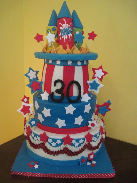 4th of July Birthday Cake: