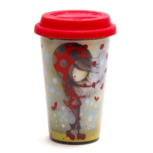 Verre à café Ketto en céramique double paroi - fille coccinelle / Ketto's ceramic double wall cup - ladybug girl www.kettodesign.com