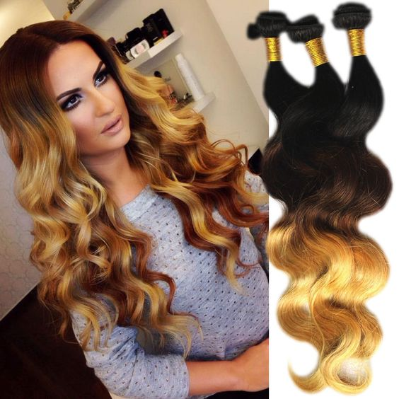 DE SHIP 2 or 4PCS HUMAN HAIR BRAZILIAN 14 -24 OMBRE 1B/33/27# 50G Hair Extension