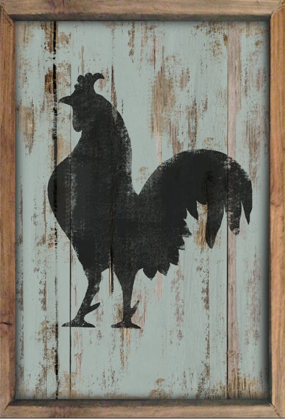 Rooster Decor In Living Room: Wooden Rooster Sign Framed Out In Reclaimed Wood Rooster