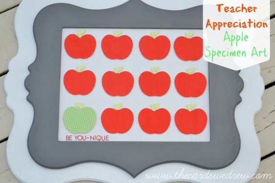 Teacher Appreciation Apple Specimen Art by The Cards We Drew for Tatertots and Jello!! -- #DIY #giftideas
