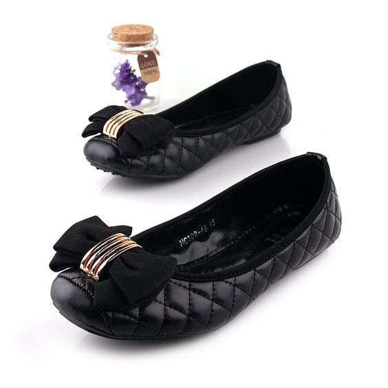 FREE SHIPPING 2014 casual single  flat square heel toe bow fashion all-match women's black flat leather plus size  shoes