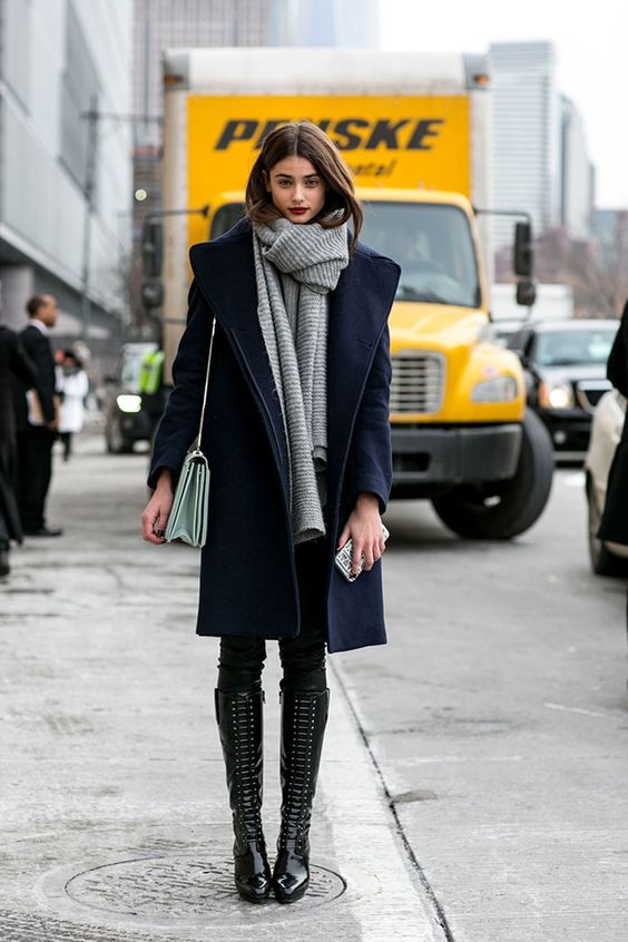 Fall Fashion Week New York - loving the coat and knee high boots: