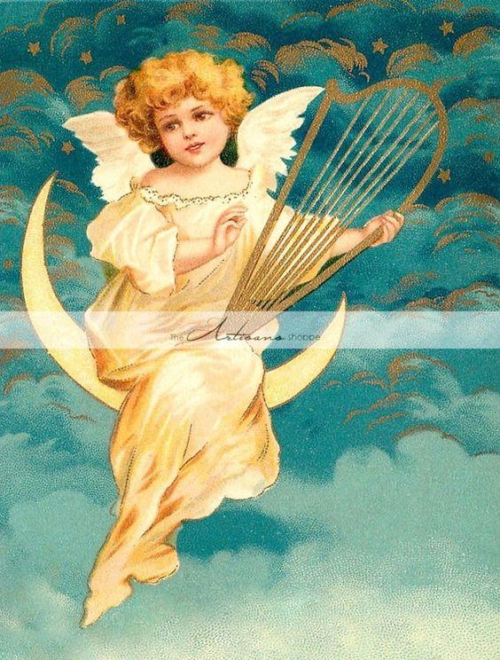 Digital Download Printable Art - Angel Harp Moon Gold Christmas Musical Antique Vintage Image Art -