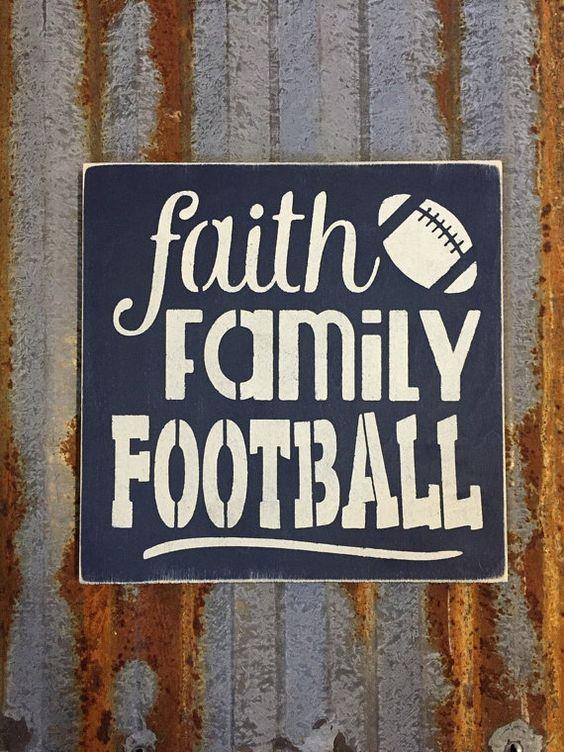 Faith Family Football  Handmade Wood Sign by SarasSignsWoodlandWA