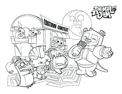 Animal Jam Coloring Pages And Print Safari Jeep With Animals